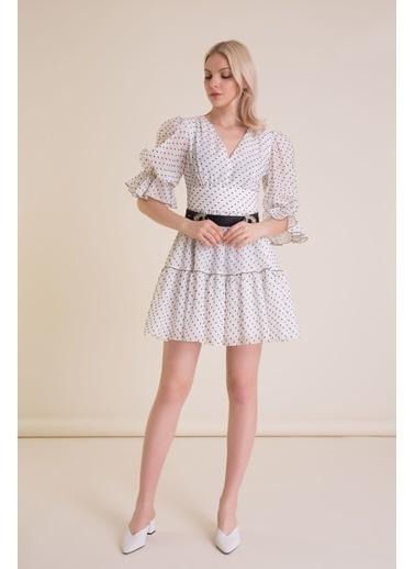 GIZIA Kemer Detaylı Puantiyeli Beyaz Mini Elbise Beyaz